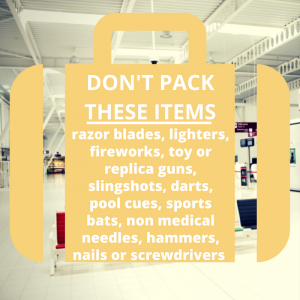 Airport Security - restricted items include darts, razor blades, slingshots and more