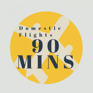 If you're flying on a domestic flight, please check in around 90 minutes before your flight