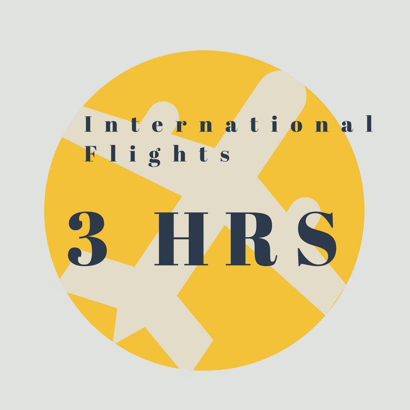 If you're flying on an international flight, please check in around 3 hours before you fly