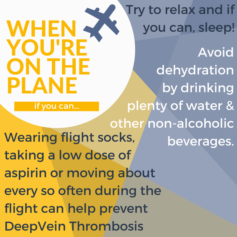 Top tips for your flight include flight socks to prevent DVTs, sleeping if you can and staying hydrated